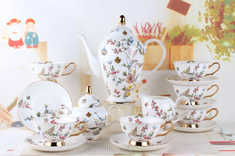Arabic Tableware 15PCS Europe Embossed Fine Bone China Teapots Set