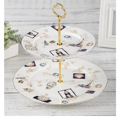Elegant 2 Layer Cake Stand 27cm Porcelain Serving Set