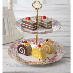 Eco Friendly 2 Tiered Cake Stand 25cm Porcelain Serving Set